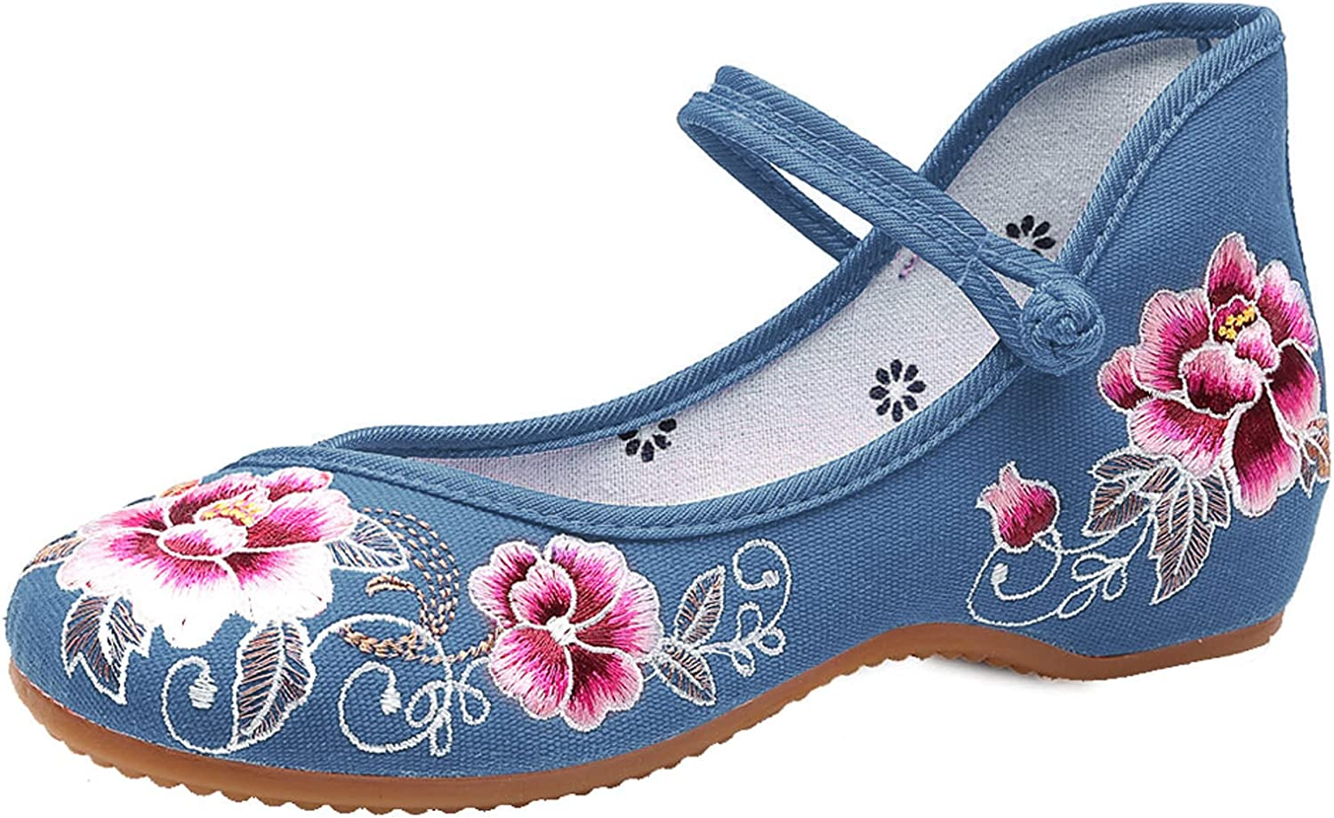 TN TANGNEST Low price Floral Embroidered Shoes Women Comfortable for Round Direct stock discount