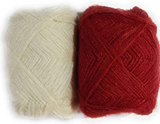 Unique retail 3 Ply Knitting Wool Yarn Pack of 2(100 gm Each) (Cream-Red, Pack of 2)