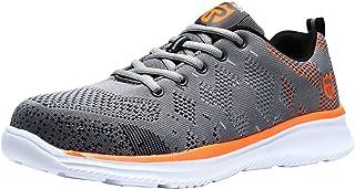 LARNMERN Steel Toe Shoes Men Safety Work Sneakers Lightweight Breathable Shoe Mens Construction Slip Resistant Sneaker 112K(10 Men Black&Blue)