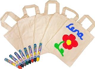 Partynelly 10x Tragetaschen, natur, zum selbst gestalten + 16 Textilmalstifte, auch als Mitgebseltüten zum Kindergeburtstag