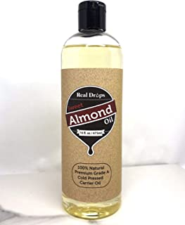 Real Drop Sweet Almond Oil - Cold Pressed - Hexane Free. Ideal for Face, Skin, Hair. Great as Massage Oil (16 oz)