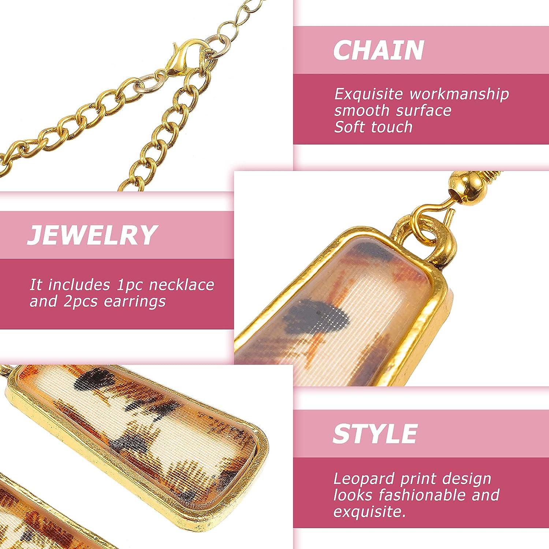 FENICAL Women Alloy Vintage Leopard Necklace and Earring Set Jewellry Set Leopard