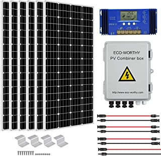 ECO-WORTHY 1000 Watt 1KW 12 Volt Solar Panel Off Grid RV Boat Kit with 60A PWM Charge Controller and Solar Combiner Box