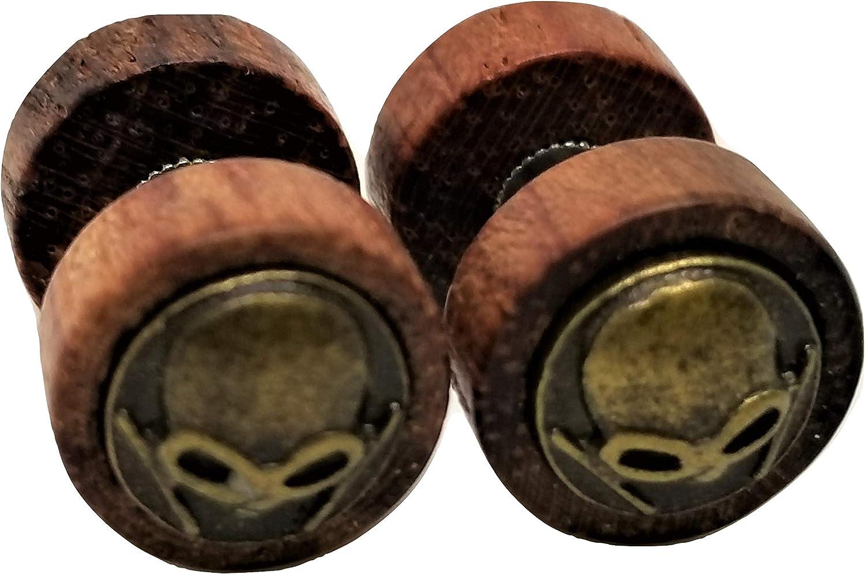 Organic Wood w/Metal Alien Face Emblem Stud Post Earrings - New - Pair!
