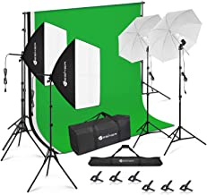 Yesker Photography Video Studio Lighting Kit 8.5 x 10 ft Background Support System Backdrop Umbrellas Softbox Continuous L...