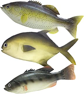 3Pcs Play Food Lifelike Fish Set, Realistic Artificial Sea Fish Model Simulated Fake Fish for Kids Pretend Play Toy Home Decor, Market Display, Stage Drama, Photography Props