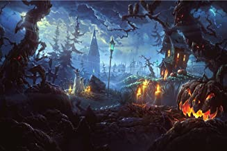 NAN Wind Pumpkin Lantern in Dark Creepy Forest with Dark Clouds Haunted House Painting Halloween Wall Art Painting Pictures Festival Art Print Print On Canvas Art The Picture for Home Modern Decor
