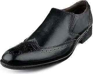 Escaro Everyday Wear Men's Leather Formal Brogue Slip On Dress Shoes