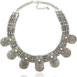 Tribal Vintage Silver Cleopatra Nefertiti Mayan Aztec Bead Chain Bib Necklace
