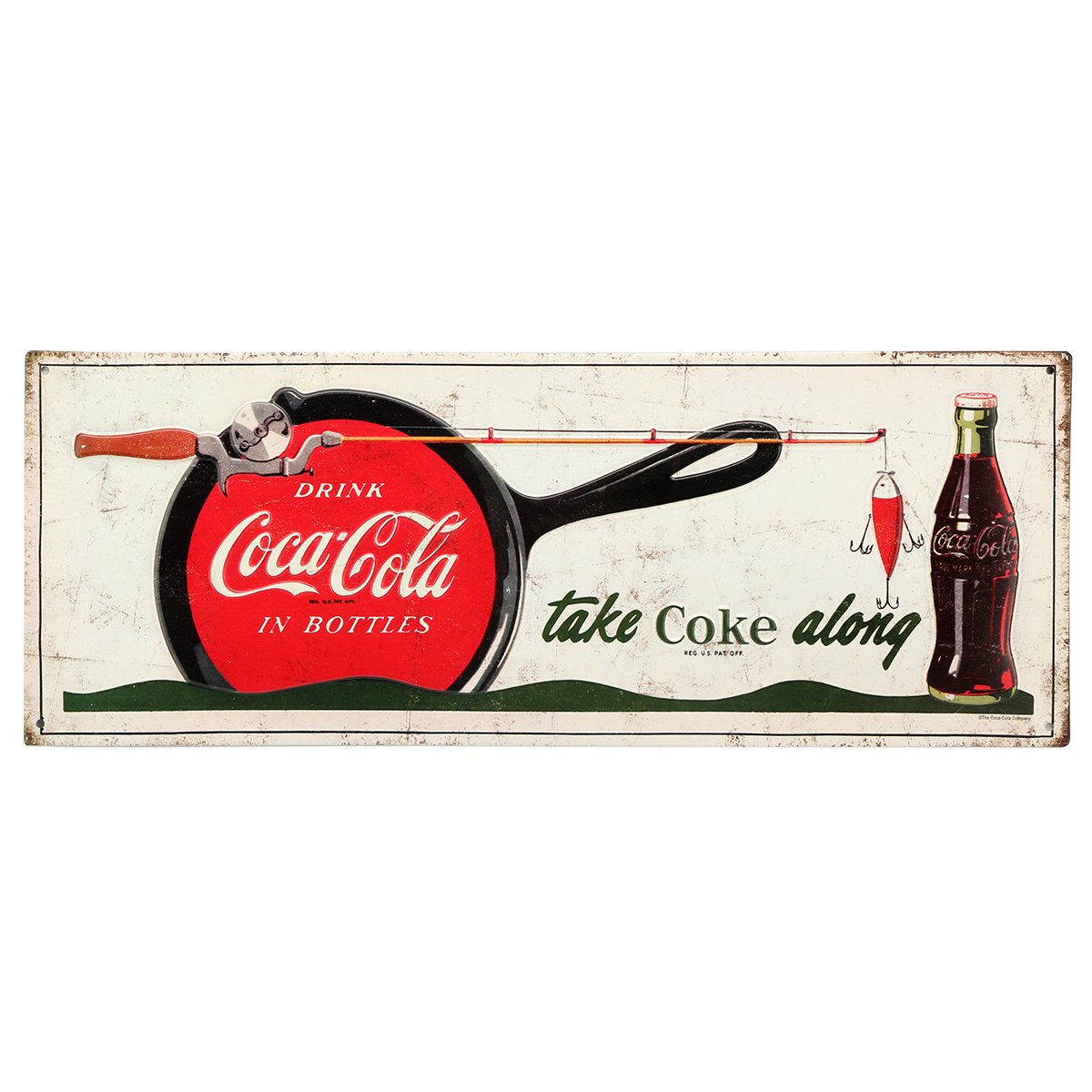 Vintage Retro Metal Tin Signs for Cabin//Lodge Art Embossed Coca-Cola Welcome to The Lodge Sign Open Road Brands and Home Decor Diner Art Man Caves