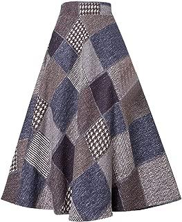 Women Long Plaid Skirt with Pockets, Wool Blend High Waist A Line Midi Tartan Flare Swing Skirts
