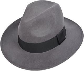 34a683d23fdd6 FORBUSITE Wool Felt Wide Brim Fedora Hats for Women Men