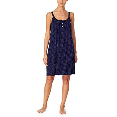 LAUREN Ralph Lauren Knit Double Strap Button Nightgown (Navy Dot) Women