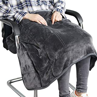 Small Weighted Lap Blanket for Sofa Heavy Lap Pad 39in x 23in 8 Lbs - Dark Grey for Adults, Kids