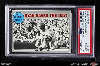 1970 Topps # 197 1969 NL Playoff - Game 3 - Ryan Saves the Day Nolan Ryan/Wayne Garrett Mets/Braves (Baseball Card) PSA 6 - EX/MT Mets/Braves