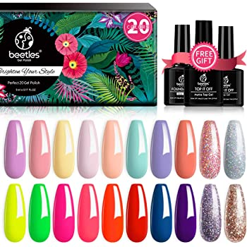 Beetles 20 Pcs Gel Nail Polish Kit, Spring into Summer Collection Soak Off Nail Gel Polish Pastel Nail Polish Neon Gel Polish Starter Kit with Glossy & Matte Top Coat and Base Coat
