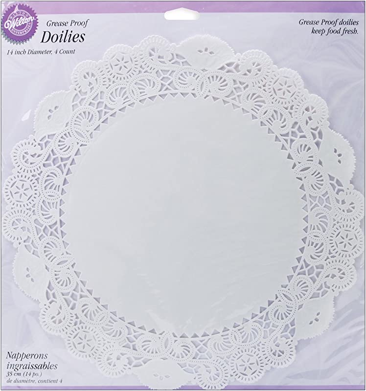 Wilton 369572 Greaseproof Doilies 14 Inch White Circle 4 Pack
