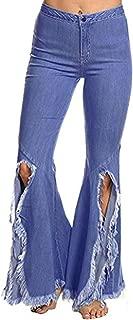 CHARTOU Women's Asymmetric Tassel Flared Slit Ripped Jeans Denim Pants