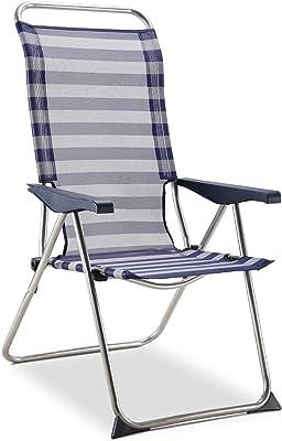 Solenny 50001072725182 Sessel, 5 Positionen, anatomische Rückenlehne, Blau/Weiß