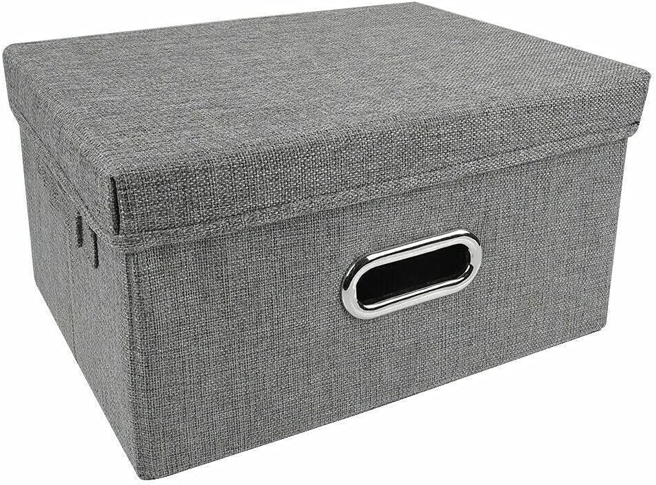 Large Foldable Ranking TOP12 Storage Box Bin W Fabric Linen Lids Con Stackable Sales of SALE items from new works