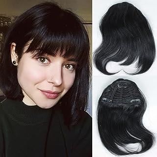 Human Hair Bangs Fringe Clip in Hair Extensions for Women Natural Color Hair Bang Full Fringe Short Straight Hair Extension