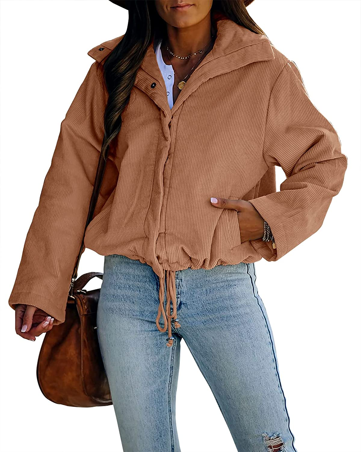 Ermonn Women's Corduroy Jacket Long Sleeve Fall Snap Button Oversized Shirts Pocketed Casual Blouses