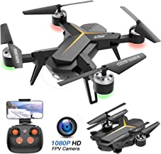 $49 » Foldable Drone with 1080P HD Camera for Adults and Kids - WiFi FPV RC Quadcopter for Beginners with Altitude Hold, Voice Control, Gravity Sensor, One Key Return to Home, 2 Batteries