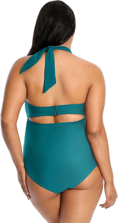 Lysa Swimwear Womens Plus Size 0X-3X 1 Piece Swimsuit Halter Retro Heather