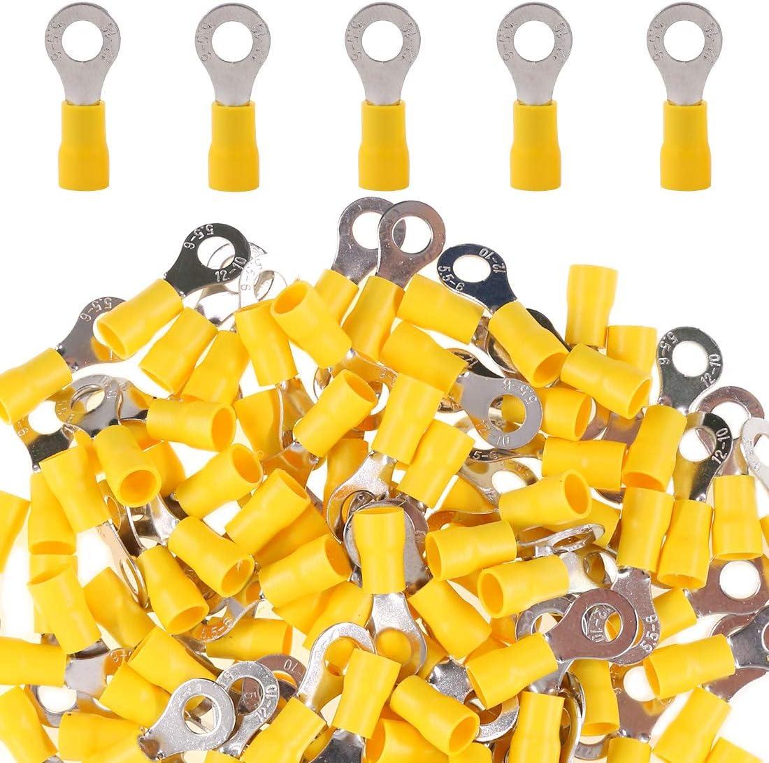 Glarks 100pcs Over item handling 12-10 Gauge M6 Quick Electrical Spl Ring Insulated Translated