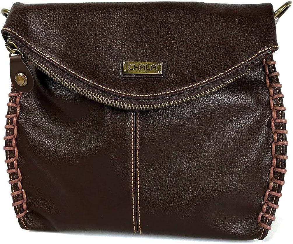 Chala Charming Crossbody Bag Shoulder Handbag With Flap Top and Zipper Dark Brown
