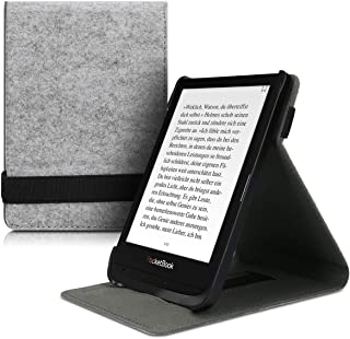 kwmobile Cover for Pocketbook Touch Lux 4/Basic Lux 2/Touch HD 3 - Felt e-Reader Case with Built-in Hand Strap and Stand - Light Grey