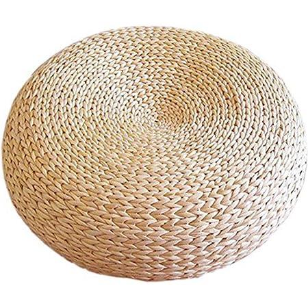 Newgreeny Futon in Paglia E Cuscino in Rattan A Terra Cuscino di Seduta Tondo Ispessito Cuscino Tatami Spessore 40 cm 15 cm Immagine Originale