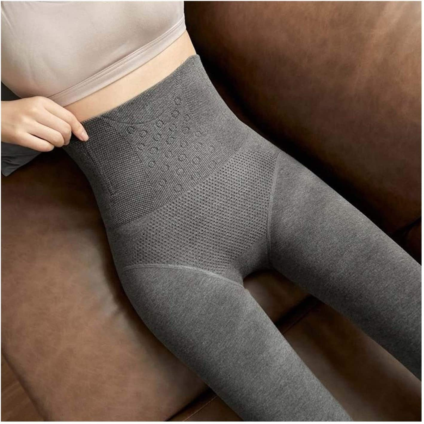 Linyuex High Waist Abdomen Pants Tights Women Pantyhose Fleece Warm Winter Thermal Tights Thick Pantyhose (Color : Step on Gray, Size : 260g)