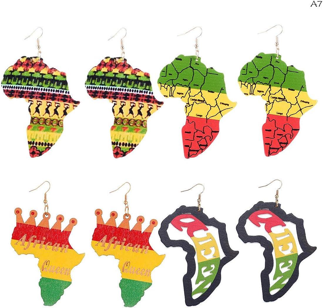 3-4 Pairs African Map Wooden Earrings Ethnic Multicolor Bohemian Wood Drop Dangle Earrings for Women Girls