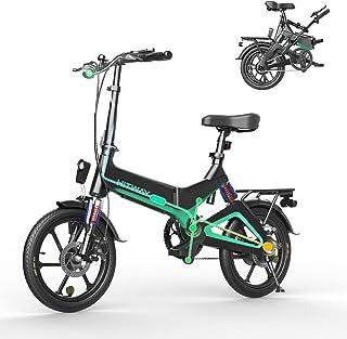 HITWAY Elektrisk cykel lätt 250 W elektrisk hopfällbar pedal hjälp E-cykel med 7,5 Ah batteri, 40,6 cm, för tonåringar och...