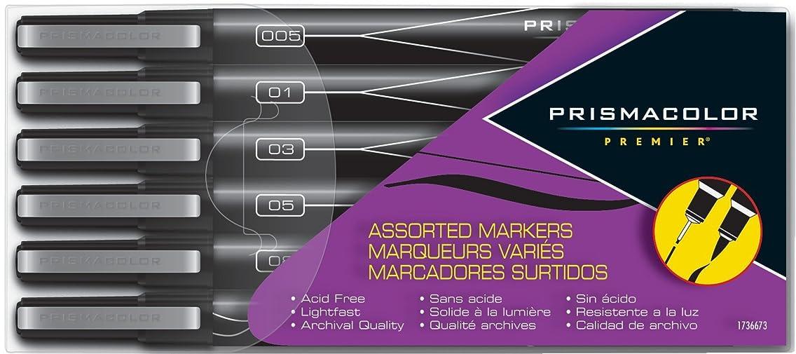 Prismacolor Premier Illustration Markers, Assorted Tips, Black, 6 Pack