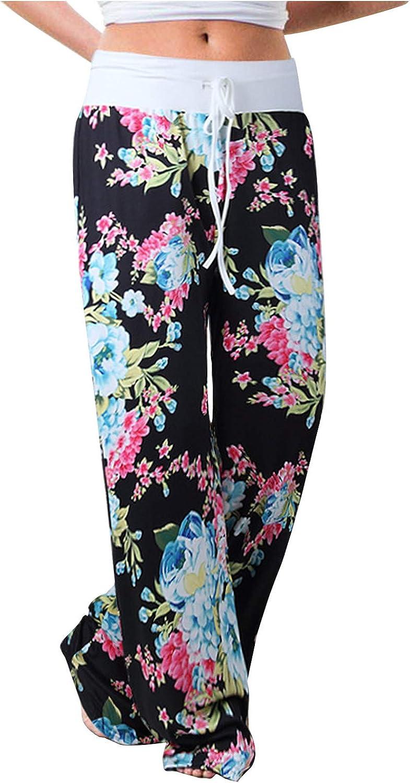 Sweatpants for Women Plus Size,Women's Comfy Pajamas Pants Casual Floral Pants Drawstring Wide Leg Palazzo Lounge Pants