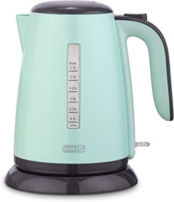 Dash DEZK003AQ Easy Electric Kettle + Water Heater with Rapid Boil, Cool Touch Handle, Cordless Carafe + Auto Shut off for Coffee, Tea, Espresso & More, 57 oz. / 1.7L, Aqua