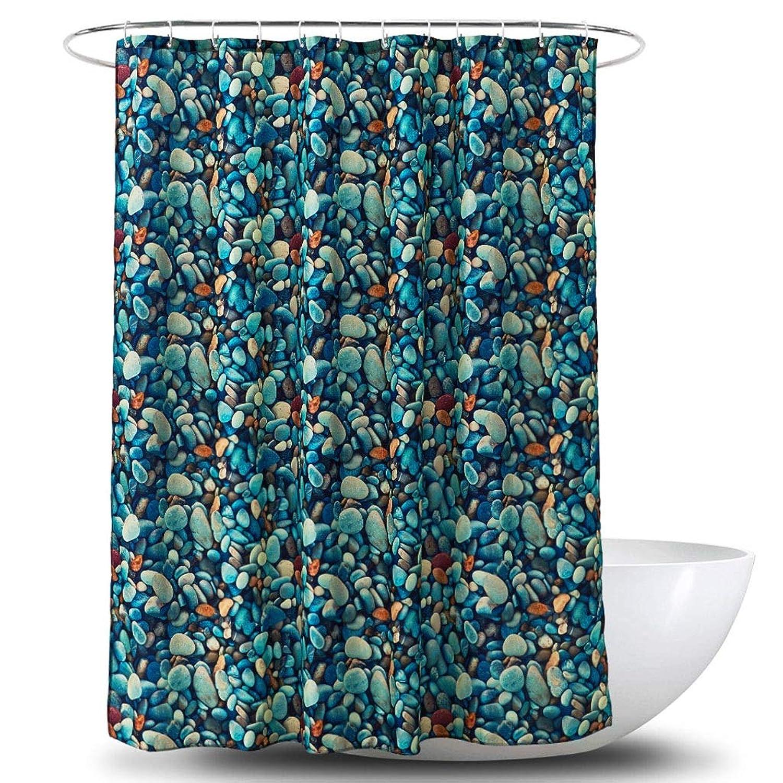 3Dデジタルカラーコブル石印刷ポリエステルシャワーカーテン防水PAコーティングバスルームカーテンバスルーム180センチメートル