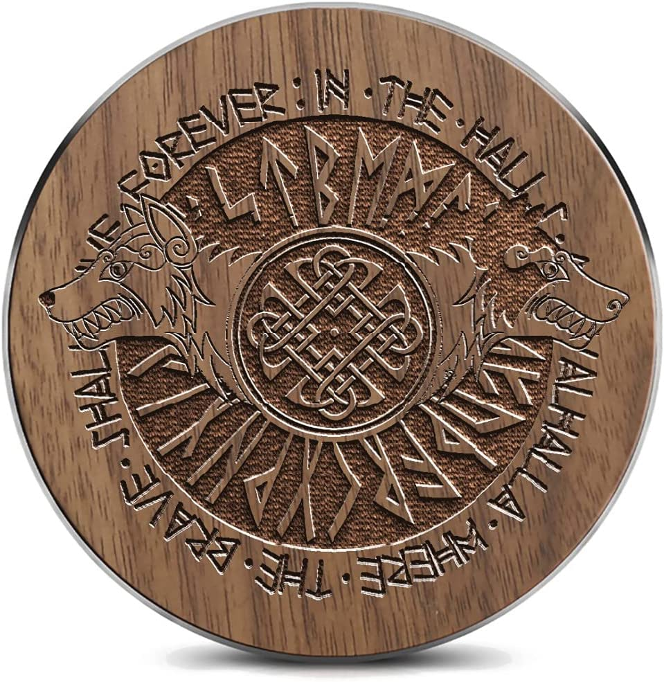 Wooden Free shipping / New Wireless Charging pad with Discount is also underway Nordic Circle Rune Wolf Ca and