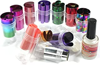 2 in 1 Professional 12 Mix Colors Fashion Design Glitzy Transfer Nail ART Foil Roll with 15ml Adhesive Glue Nail