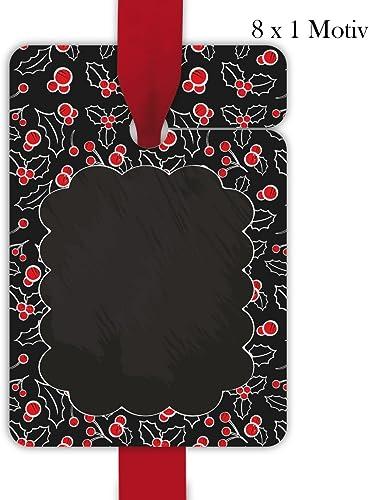 10 x 8 sch  Weißachts Geschenkanh er, Geschenkkarten, Papieranh er, H e Etiketten, Tags zu Weißachten im Tafel Look mit roten Beeren zum Beschriften, Format 10 x 6,9cm