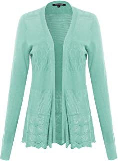 Made by Emma Women's Embroidery Lace Patterned Long Sleeves Cardigan Sweater
