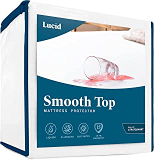 LUCID Smooth Top Protector-100% Waterproof-Hypoallergenic-Universal Fit Mattress Protector, Queen, White
