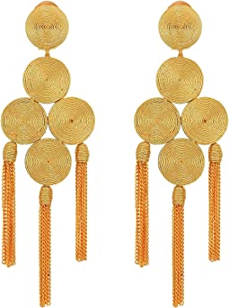 Embroidered Tassel C Earrings
