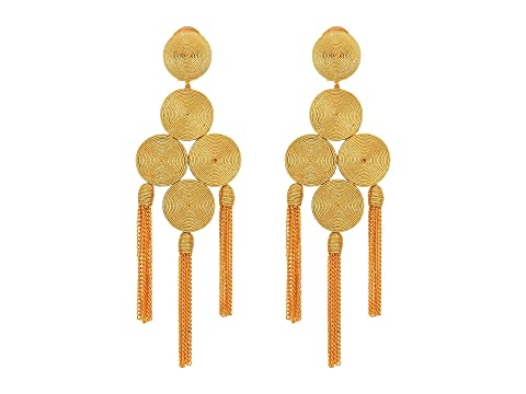 Oscar de la Renta Embroidered Tassel C Earrings
