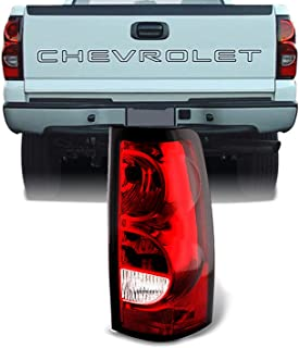 For 03-06 Chevy Silverado Pickup Truck Red Clear Tail Lights Passenger Right Side Replacement Lamps