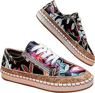 Chaussures florales colorées à lacets lacets, chaussures de conseil décontractées bouche peu profonde ankle blanche buckle...