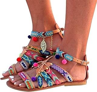Elogoog Women's Posh Toe Ring Pom Pom Sandal Cross-Tied Ankle Wrap Beach Flats Shoes