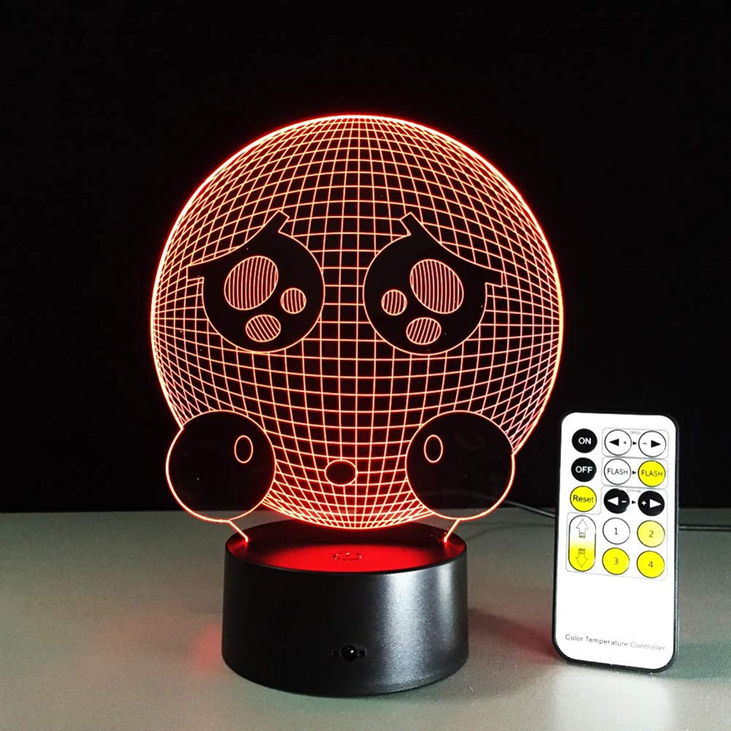 KKXXYD Remote Control Crying Face Cute 3D Night Light Led Vision Stereo Acrylic Panel Table Decoration 7 color Change Bedroom Lamp